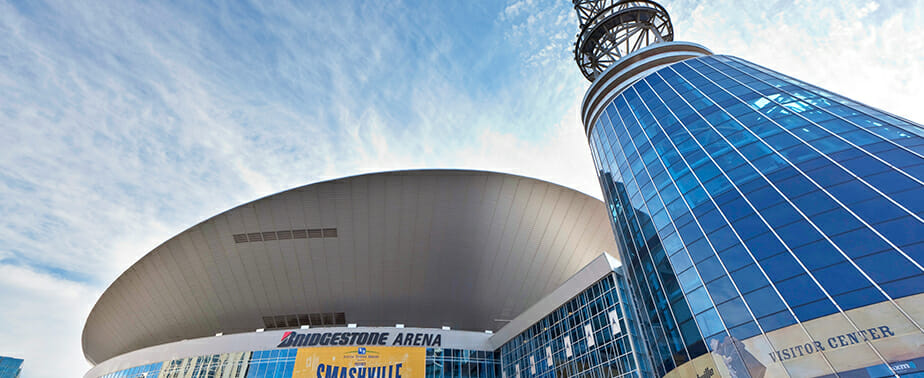 panoramic of bridgestone arena on broadway in Nashville, Tennessee