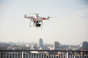 Drone preparing to fly over the city