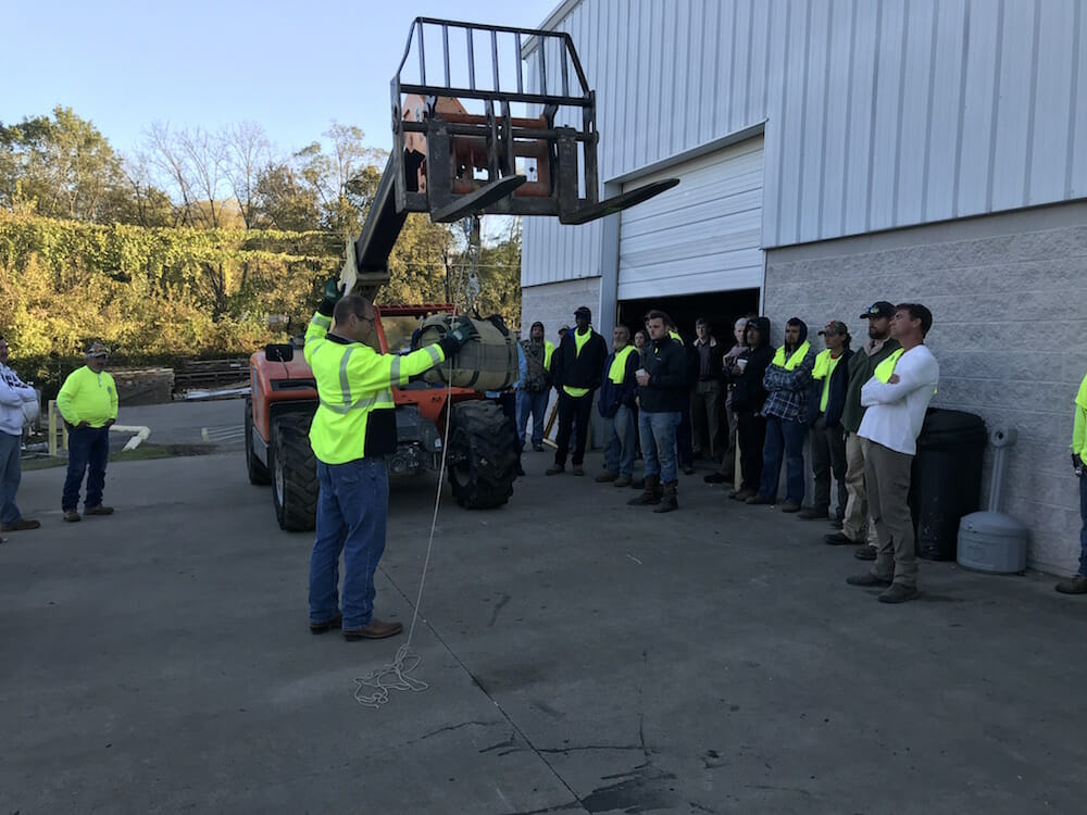 Experienced employees at Maxwell Roofing at a safety training