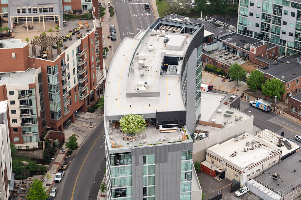 Roof of Thompson Hotel at the Gulch in Nashville