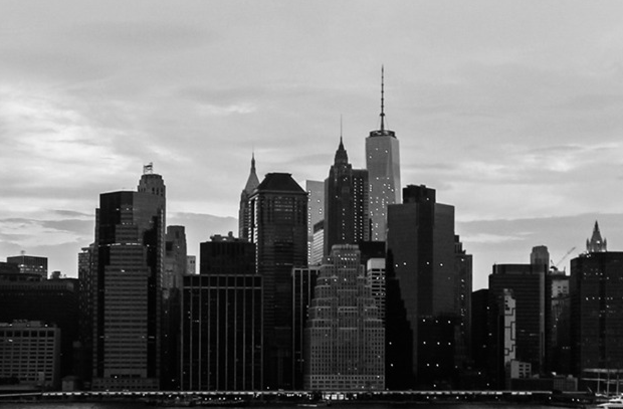 black and white skyline of a city