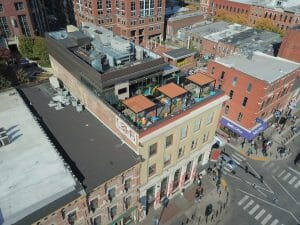 aerial shot of three rooftop bars on Broadway in Nashville