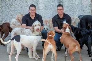 Andy and Chad Baker with dogs, founders of Baker Twin Real Estate and The Dog Spot