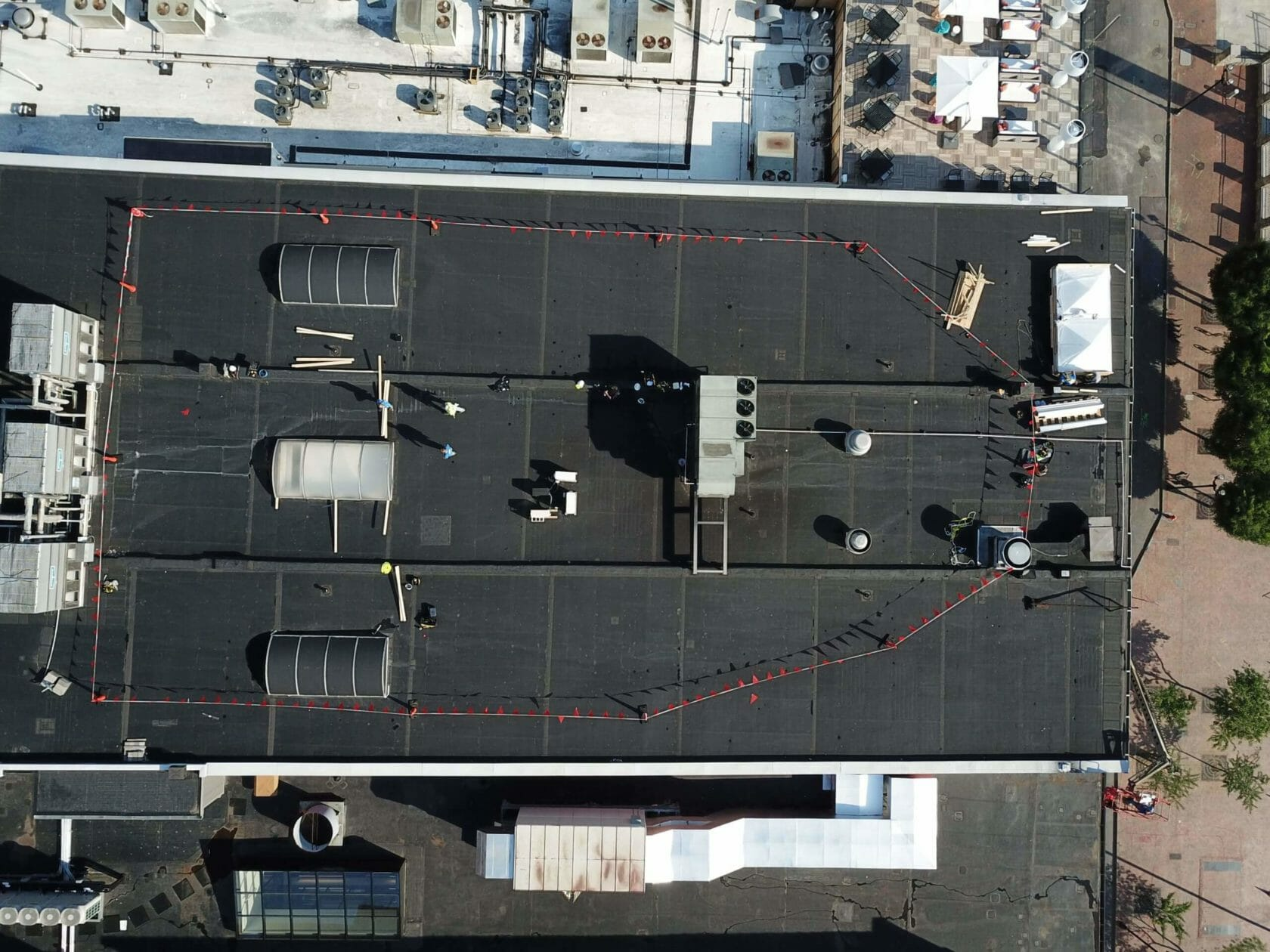 aerial view of flat commercial roof