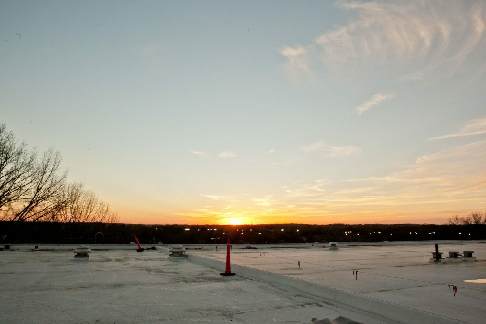sunset view from a commercial roof